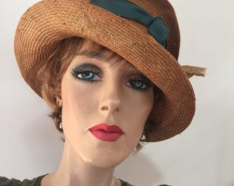Unusual gold colored profile hat for Kentucky Derby, Wedding or Downton Abbey party
