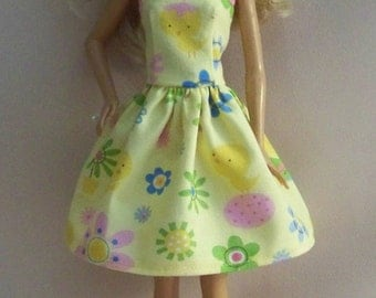 Handmade Barbie Clothes-Easter/Spring Yellow Print Barbie Dress