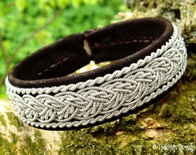 Norse Luxury Lambskin Viking Bracelet Cuff GRANI Sami Pewter decorated Dark Brown Leather Custom Handcrafted to Your Wishes