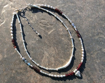 Garnet double strand Heart necklace with Labradorite Pearls and Karen Hill Tribe beads