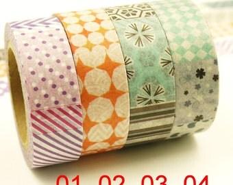 Valletta - Japanese Washi Masking Tape Set - 4 rolls - 11 Yard (each roll)