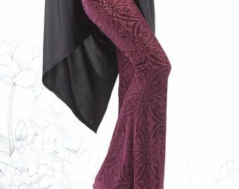 clearance - Burgundy Velvet Burnout Bell Bottoms - burgundy bell bottoms,  velvet bell bottoms, hippie chick carousel ink