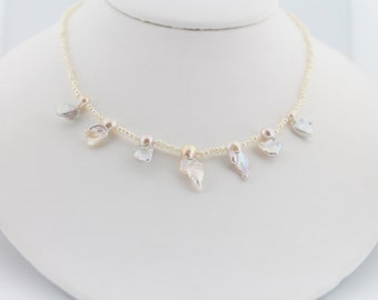 Ruffle pearl necklace, hand knotted, white, petite flameball, fireball, freshwater pearls, gold: Simply Adorned