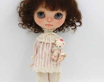 Girlish - Vintage Pink Stripes Set for Blythe doll - dress / outfit