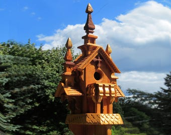 Three Towers - hand crafted wood birdhouse