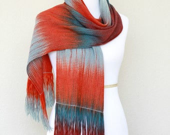 Woven scarf, women scarf, pashmina scarf, woven wrap, wool scarf in blue grey, red and teal colors with fringe