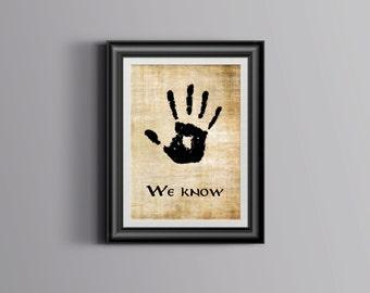 the Dark Brotherhood We Know Parchment Wall Art Print Printable digital instant download elder scrolls skyrim hand print