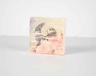 Boho Bird Art, Art Blocks, Wood Printing, Wood Block Art, Small Art, Meditation, Boho, Art Block, Bird Print