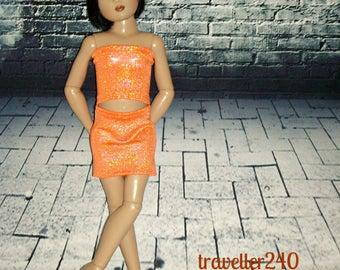 "Handmade for 14"" Helen Kish Chrysalis Dolls, ""Tangerine Night"" 3 Piece Outfit in Mystic Metallic Orange, Top Skirt Headband by traveller240"