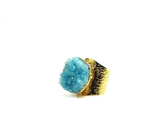 Blue Agate Stone ring, Druzy ring, Gold Ring, Statement Ring, Cocktail Ring, Large Blue Ring, Aqua Blue ring, Statement  Gemstones Ring