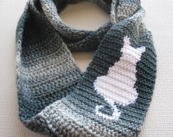 Cat Scarf. Infinity, crochet scarf with a white cat silhouette. Sitting cat, circle scarf.