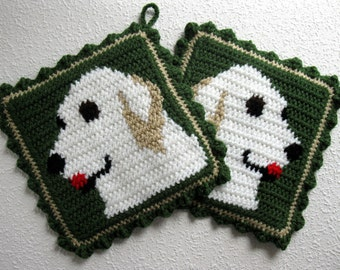 White Retriever Pot Holders. Thyme green, crochet and knit pot holder set with white Golden retrievers. Dog kitchen decor