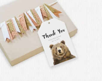 Bear Birthday Party Thank You Tag, Baby Animal Theme, Woodland Baby Shower