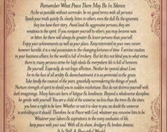 Antiqued Parchment Desiderata Poem by Max Ehrmann 8.5x11 or 8x10