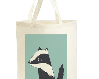 Badger Tote Bag - Gift for Animal Lover - Badger Gift - Book Bag - Gift For Sister - Gifts For Friend - Cute Tote Bags