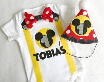 Mickey Mouse First Birthday Baby Boy Outfit. Bodysuit and Party Hat 1st birthday