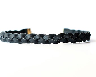 Braided Leather Choker / Necklace / Dark Charcoal