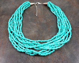 Seed Bead Necklace, Statement Necklace, Turquoise, Boho, Multistrand Necklace, Turquoise, Chunky Necklace, Beaded Necklace, Beaded Necklace