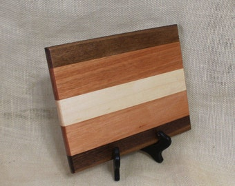 Cheese / Sushi Board Striped with Hardwoods Maple, Red Grandis  and Walnut