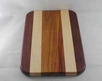Purple Heart, Maple and Canary Wood Hardwood Cutting Board or Carving Board