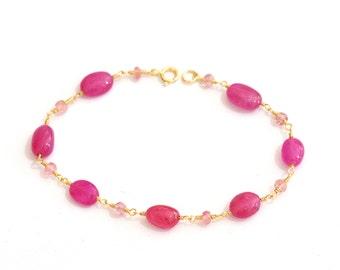 Ruby and Pink Tourmaline bracelet, Ruby gold bracelet, Pink Tourmaline gold bracelet, Red Stone Jewelry, July Birthstone Jewelry