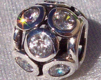PANDORA Whimsical Lights Clear Cz Slider Authentic Pandora Bracelet Bead FREE SHIPPING