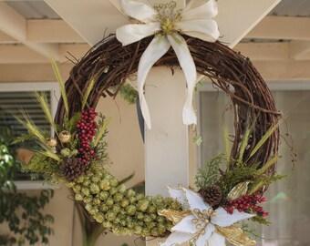Holiday beer hop wreath