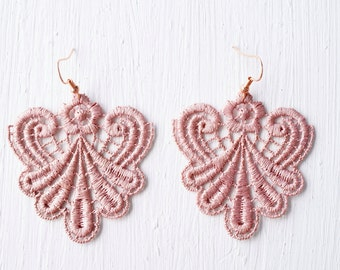 Lace Earrings in Rose Gold