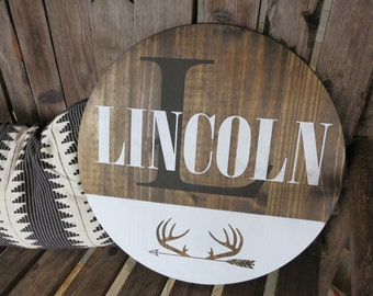 Personalized Round Wood Sign Nursery - boys room - buck - hunting
