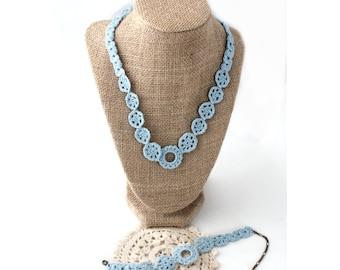 Gift Set - Crochet Necklace - Necklace Bracelet Set - Crochet Bracelet - Crochet Jewelry - Blue Necklace - Blue Bracelet - Vegan Jewelry