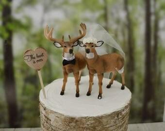 Ivory bride-deer wedding cake topper-bride and groom-buck and doe-rustic wedding-deer hunter-hunting groom-fall wedding-deer lover