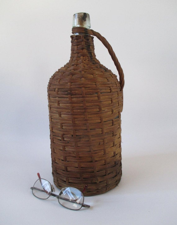 Demijohn Vintage Wicker Covered Glass Bottle Fermentation