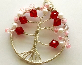 Cherry Blossom Tree of Life Necklace, Cherry Blossom, Tree of Life, Pink and Red, Free Shipping, Gifts for her
