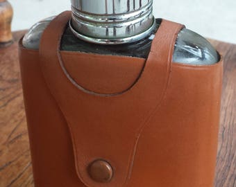 Vintage Hip Flask with Leather Case