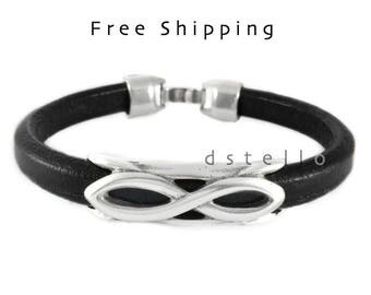 Infinity Symbol, Eternity love jewelry - Infinity leather bracelet - Personalized color - Men gift idea custom made - Antique silver