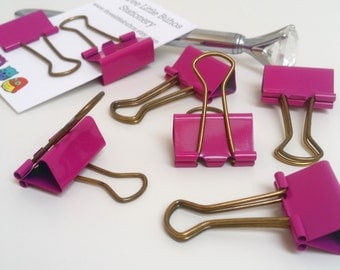 Pretty Pink and Gold Binder Clips- Set of Four