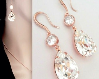 Rose gold earrings, Swarovski crystal earrings~Teardrops~Wedding earrings ~14k rose gold over sterling silver wires,Brides earrings,SOPHIA