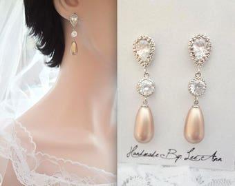 Pearl drop earrings, Brides pearl earrings, Classic pearl wedding earrings, Champagne  pearl earrings, Sterling silver posts~ TOP SELLER