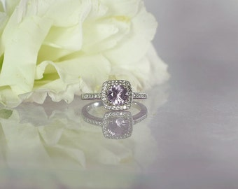Square Halo Ring, Gemstone Halo Ring, Halo Ring, Purple Gemstone Ring, Spinel Ring, Spinel Sterling Ring, Halo Sterling Ring, Gemstone Ring