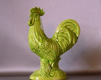 Neon Green Rooster (Right) to brighten any kitchen is made from a 1960s ceramic mold and made in USA
