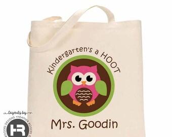 Kindergarten Teacher Bag - back to school gift - Kindergarten's a Hoot Owl Tote Bag - monogram Teacher Tote Bag - teacher appreciation gift