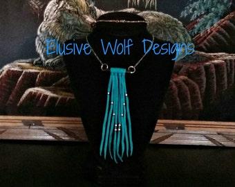Turquoise Leather Beaded Fringe Necklace - Beaded Fringe Necklace - Tribal Necklaces - Elusive Wolf