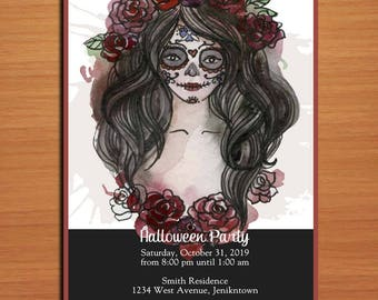 Watercolor Sugar Skull Girl / Day of the Dead Halloween Party Customized Printable Invitations /  DIY
