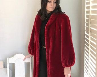 vintage Red Plush Coat Faux Fur 1980s Long Luxurious Warm Coat