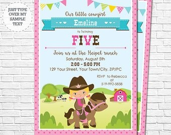 Blonde Cowgirl Birthday Party Invitation - Girl Western Birthday Invitation - Barnyard Birthday - Download & Personalize in Adobe Reader