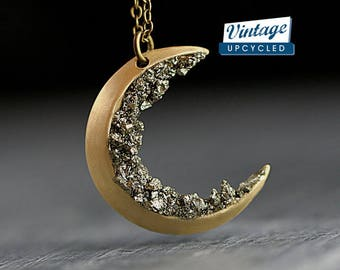 New: Crushed crystal crescent moon necklace. Genuine vintage crescent moon upcycled with crushed pyrite. Brass gold with long necklace.