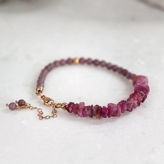 Pink Tourmaline Bracelet - Rose Gold Bracelet