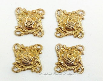 Brass Rose Connector, Brass Floral Connector, Brass Floral Link, Raw Brass Stamping, 20mm x 20mm - 4 pcs. (r308)