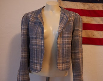 Blue and tan plaid crop jacket, satin lined, handmade, ruched sleeves, no label, vintage plaid blazer