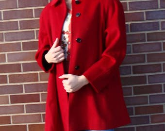 vintage RED SWING COAT fashions by jill wool M L